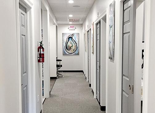 Office hallway corridor welcoming you in