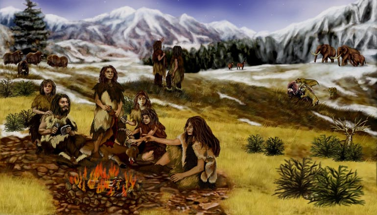 neanderthal family around the campfire eating using their wisdom teeth