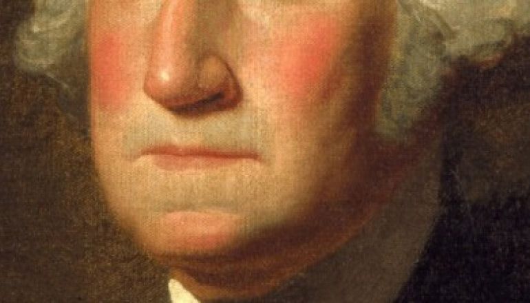 closeup of george washington's nose and mouth