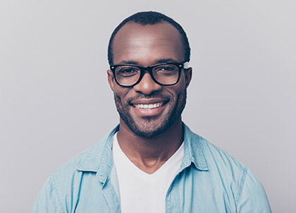 man smiling straightforward